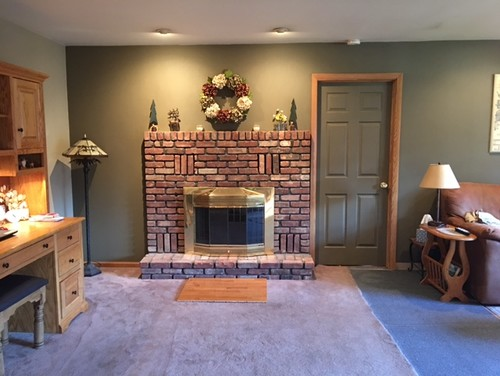 We Are Renovating Our Family Room And Cannot Figure Out Exactly How To Deal  With Our Fireplace Wall. The Fireplace Is Off Center On A 9 Ft Wide Wall.