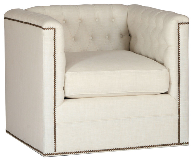 Gabby Thatcher Tufted Back Boxy Frame Swivel Chair, Gray Zulu Feather.