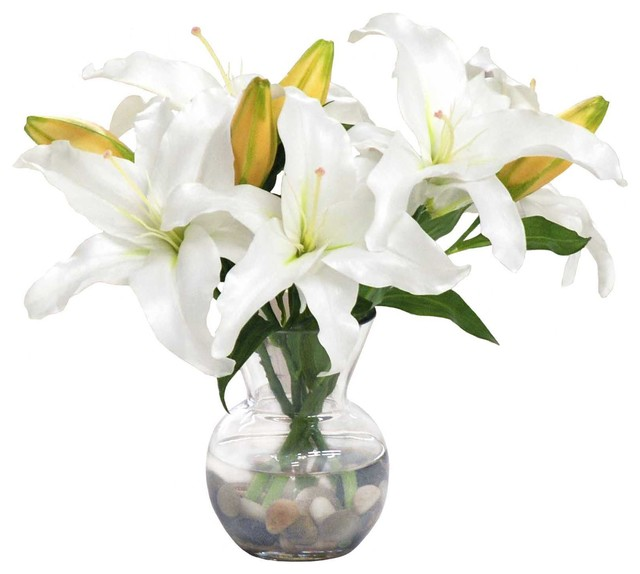 White Lily Casablanca In Vase Contemporary Artificial Flower
