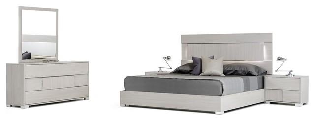 Modrest Ethan Eastern King Italian Modern Gray 5-Piece Bedroom Set ...