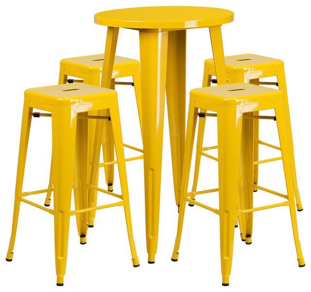 Flash Furniture 24 Round Metal Indoor Outdoor Bar Table
