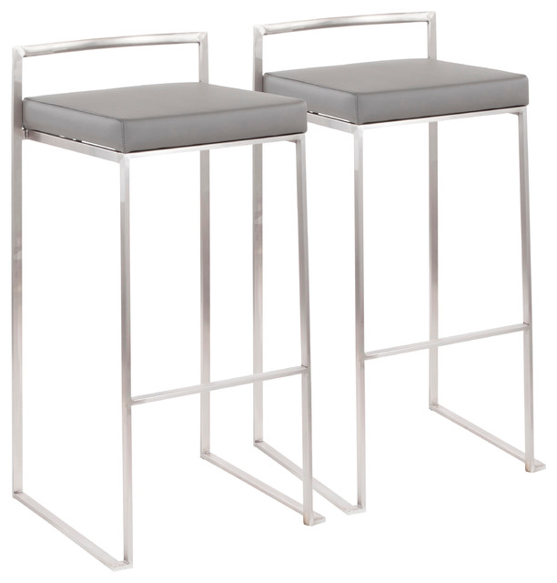 LumiSource Fuji Barstool, Stainless Steel Set of 2, Grey