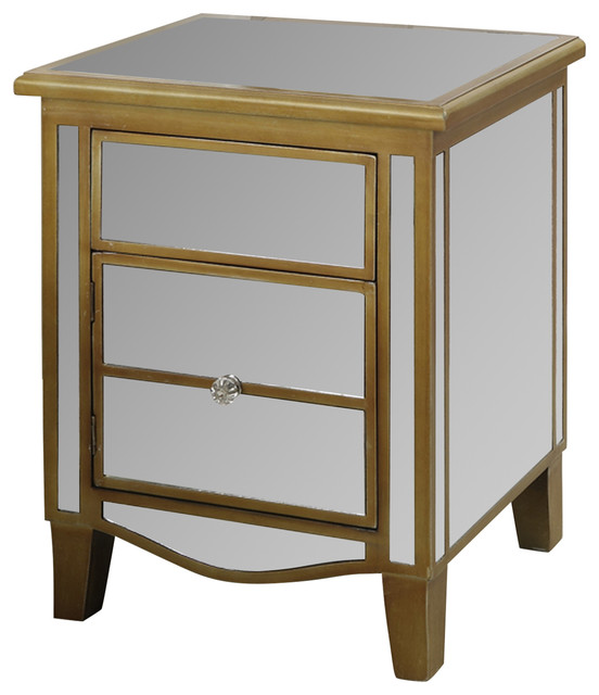 park lane mirrored end table transitional side tables and end tables by convenience concepts. Black Bedroom Furniture Sets. Home Design Ideas