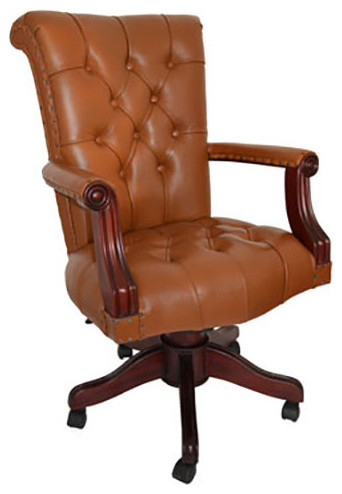 regal leather office chair with wood trim tan
