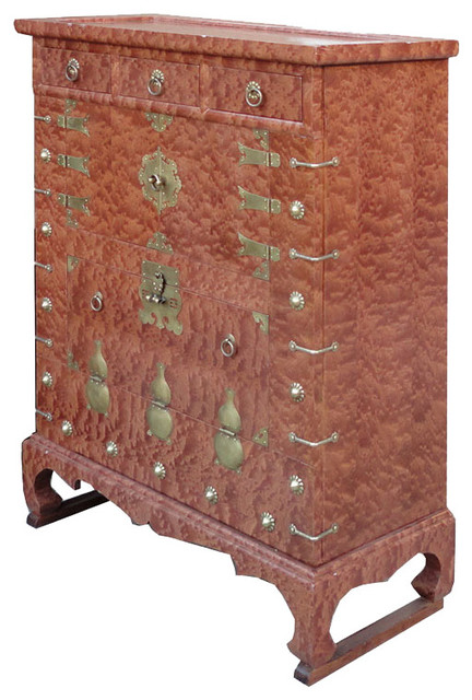 Korean Brass Hardware Deco Burl Wood Inlay End Table Side Cabinet Asian  Side Tables
