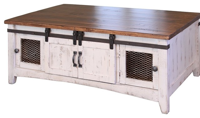 Solid Pine Coffee Table.Greenview White Solid Pine Coffee Table 2 Sliding Doors