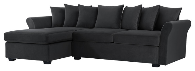 Modern Velvet Sectional Sofa L Shape Couch with Extra Wide