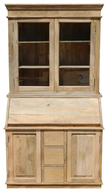Drop Front Secretary Desk With Hutch Made Of Mango Wood.