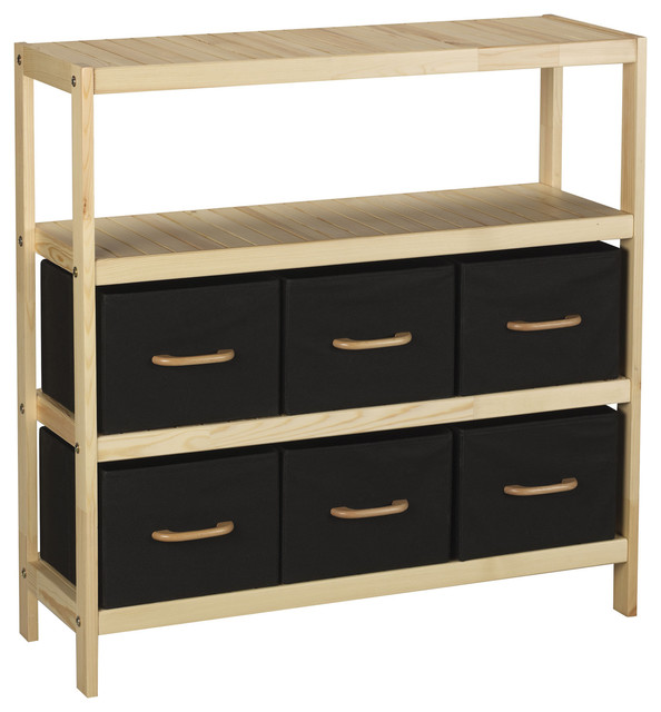 Wooden Storage Drawer With Nine Black Bins And Matching Wood Accents.