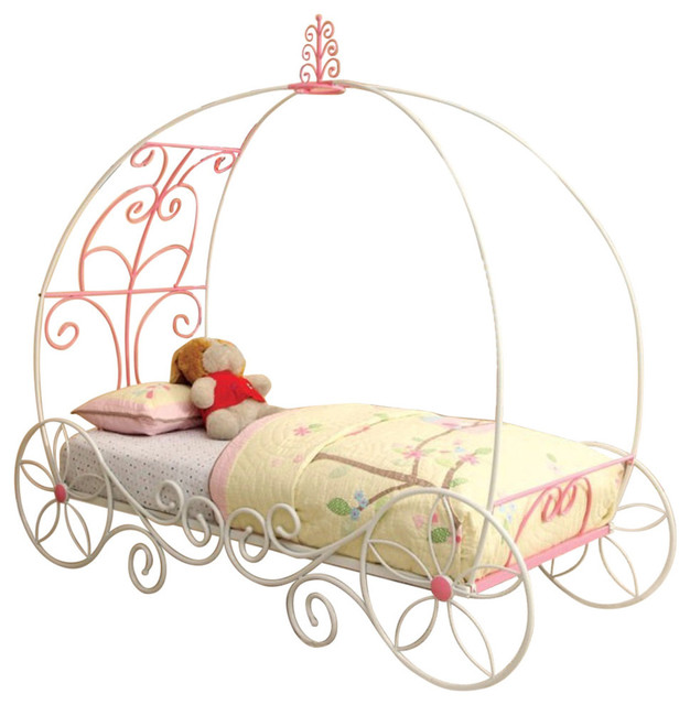 Metal Princess Full Bed, Pink And White.