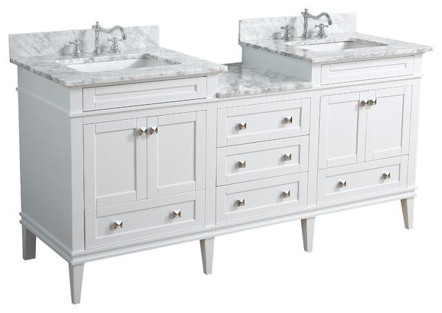 """Eleanor 72"""" Double Bathroom Vanity With Carrara Top, White."""