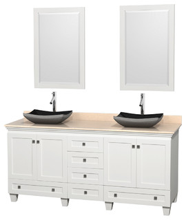 72 Acclaim White Double Vanity Ivory Marble Top And Altair Black Grani