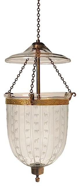Animal Carnival Etching Hundi Gl Bell Jar Lantern 9 D Antique Br