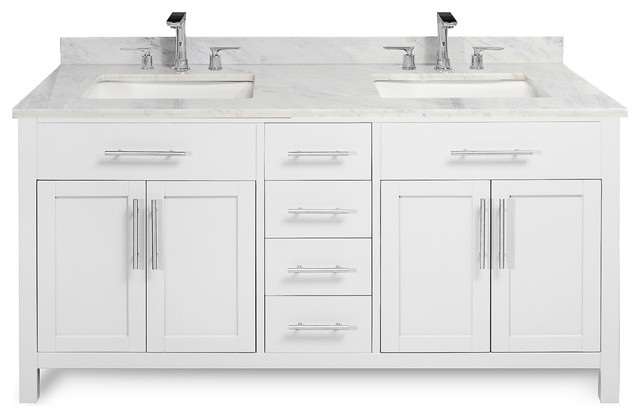 "Malibu 60"" Vanity Cabinet and Stone Top, White, Carrara"