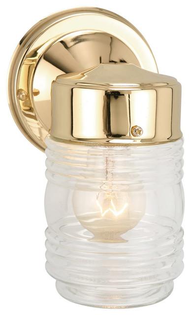 Outdoor Wall Light Matte Black Jelly Jar Exterior Clear Glass Shade Decor