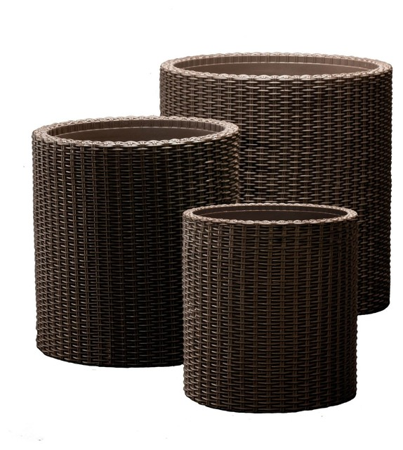 Round Cylinder Plastic Rattan Resin Garden Planters Tropical Outdoor Pots  And Planters