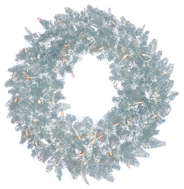 pre lit silver ashley spruce tinsel christmas wreath clear lights 5 contemporary - Christmas Wreaths With Lights