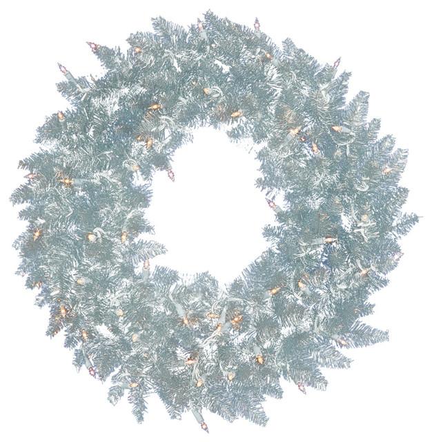 Pre Lit Silver Ashley Spruce Tinsel Christmas Wreath Clear Lights  - Christmas Wreath Lights