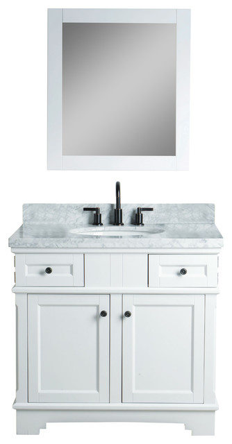 """Vallerie Solid Wood Vanity With Mirror And Faucet, White, 36""""."""