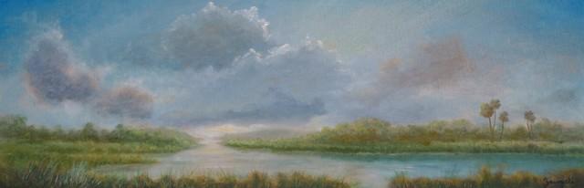 Original Tropical Landscape Oil Painting, panoramic sunset painting, fine art
