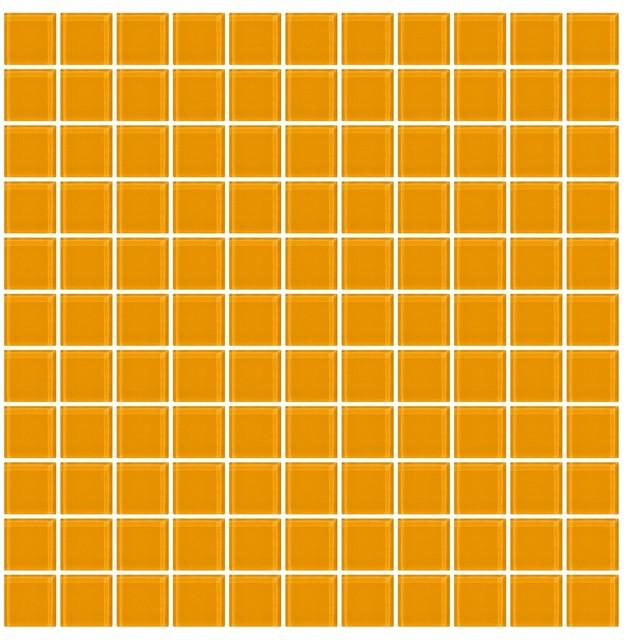 """12""""x12"""" Light Orange Glass Tile, Full Sheet, Grid."""
