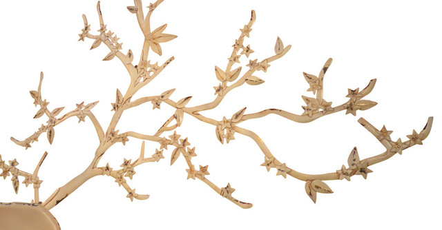 Extra Large 51  Tree Branch Metal Wall Art Cream White Cottage Distressed  sc 1 st  Houzz & Extra Large 51