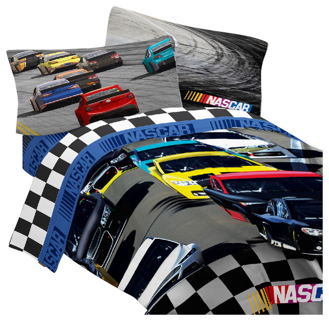 Nascar Bedding Set Bump Drafting Racing Comforter Sheet Set