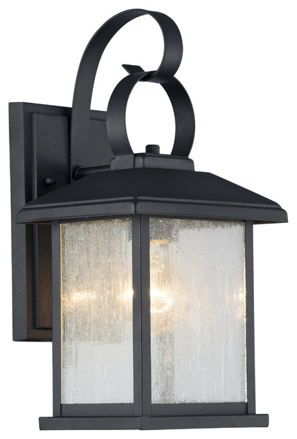 Irving Outdoor Wall Sconce, Textured Black.
