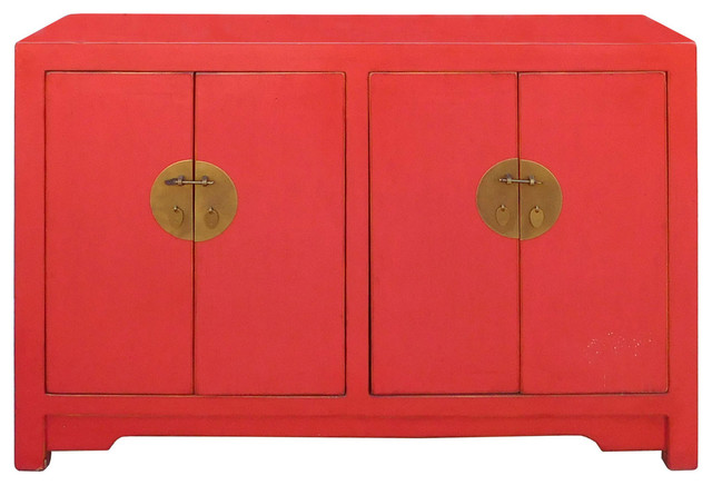 Shop Houzz | Golden Lotus Antiques Chinese Red Lacquer Sideboard Console Table Cabinet - Console ...