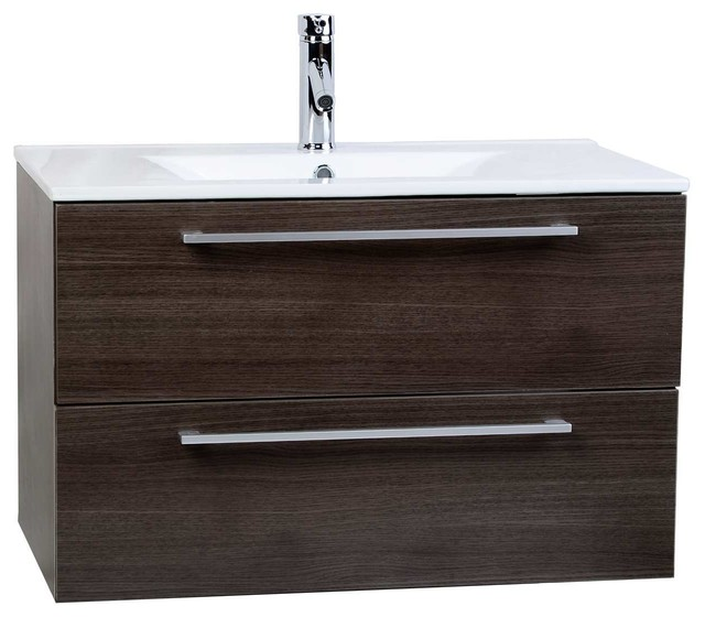 ConcepBaths Caen 32 Wall-Mount Bathroom Vanity Set, Gray Oak by ConceptBaths