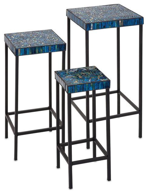 Mosaic Tables, 3-Piece Set, Peacock.