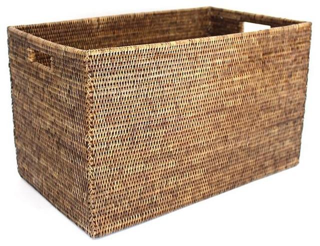 Rectangular Laundry Basket, Antique Brown.