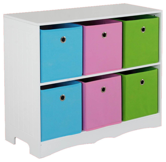 Storage Shelf with 6 Bins  sc 1 st  Houzz & Storage Shelf with 6 Bins - Contemporary - Kids Storage Benches And ...