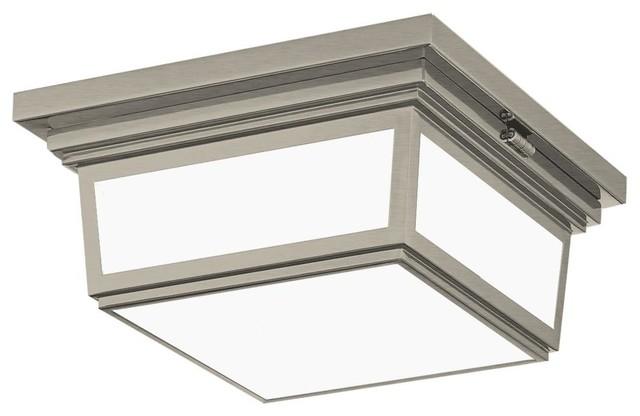 Massey 12 2 Light Ceiling Fixture Square Hinged Flush Mount Brushed Nickel