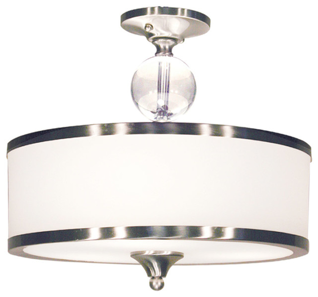 Cosmopolitan 3-Light Semi-Flush Mounts, Brushed Nickel.