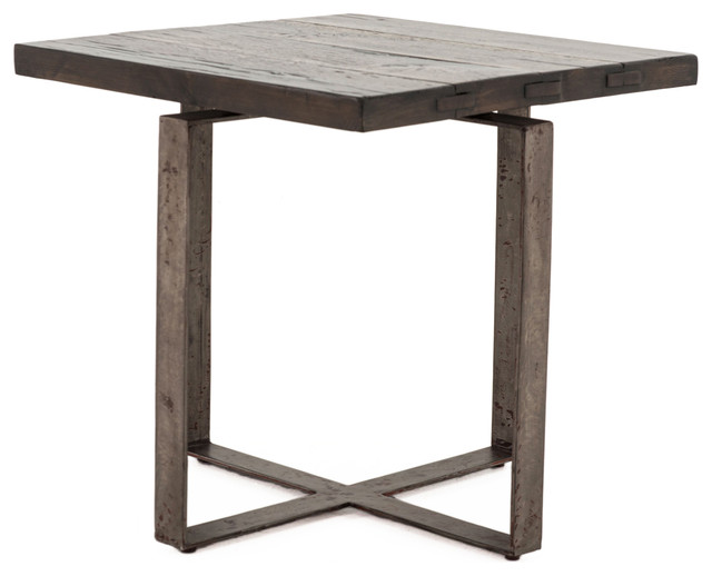 Jared Galvanized Iron Dark Gray Oak Geometric Side End Table  industrial-side-tables- - Jared Galvanized Iron Dark Gray Oak Geometric Side End Table