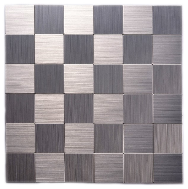 12 Quot X12 Quot Instant Mosaic Peel Stick Brushed Stainless Metal