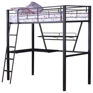 Acme Senon Loft Bed With Desk, Silver and Black