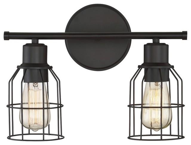 Trade Winds Industrial Wire 2-Light Bathroom Vanity Light in Oil Rubbed Bronze