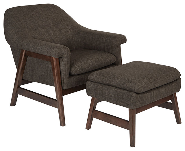 Flynton Chair and Ottoman With Espresso Frame, Taupe by OSP Home Furnishings