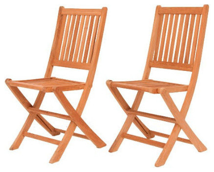 Quinby Folding Wooden Patio Chairs, Set Of 2.