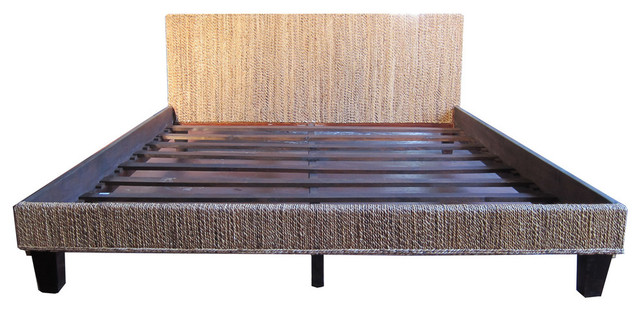 seagrass woven bed frame king transitional panel beds - Panel Bed Frame
