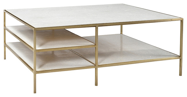 Marble Br Coffee Table W Shelves