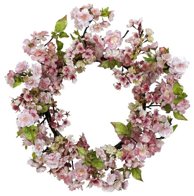 24 In. Cherry Blossom Wreath.