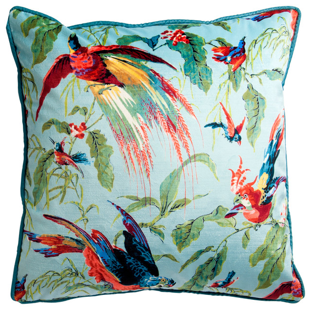 V&A Floral Velvet Cushion - Tropical - Scatter Cushions - by Arley House