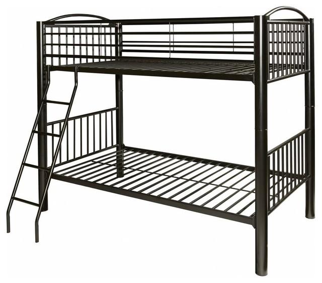 Heavy Metal Twin Over Twin Bunk Bed, Black.