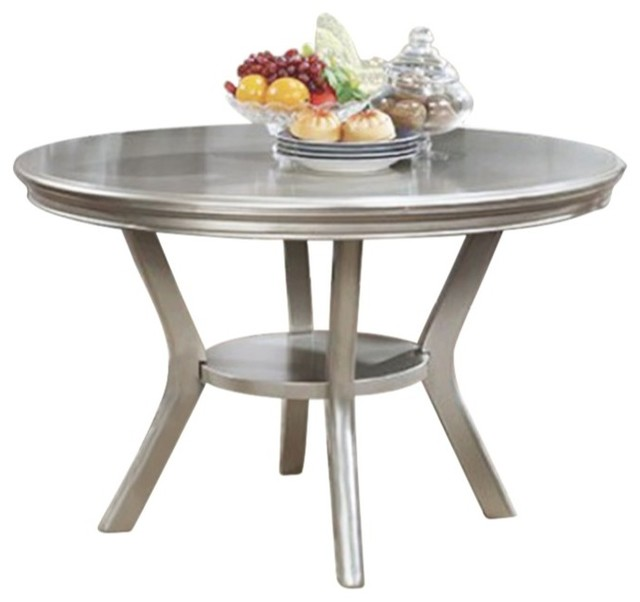 Incroyable Amina Contemporary Round Dining Table, Champagne   Transitional   Dining  Tables   By Benzara, Woodland Imprts, The Urban Port