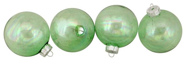 4ct Shiny Green Clear Iridescent Christmas Ball Ornaments 3 25 Christmas Ornaments By Northlight Seasonal