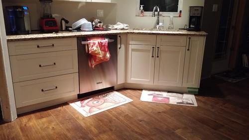 Help with kitchen mat awkward area custom for Hardwood floors 45 degree angle