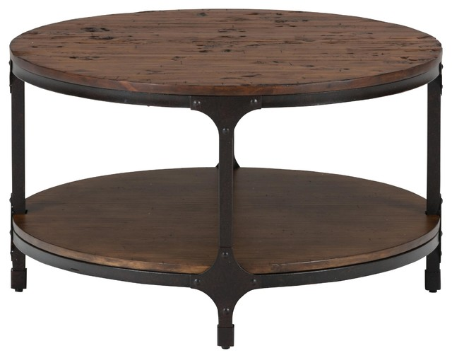 Urban nature round cocktail table rustic coffee tables by jofran Round rustic coffee table